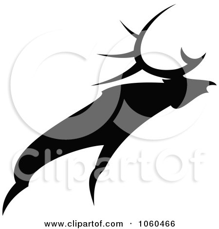 Royalty-Free Vector Clip Art Illustration of a Black And White Moose Logo - 3 by Vector Tradition SM
