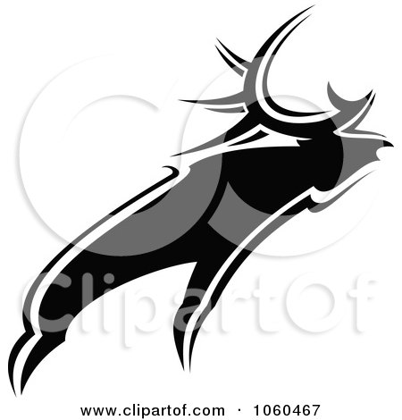 Royalty-Free Vector Clip Art Illustration of a Black And White Moose Logo - 1 by Vector Tradition SM