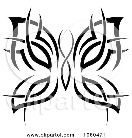 Royalty-Free Vector Clip Art Illustration of a Black And White Butterfly Logo - 14 by Vector Tradition SM