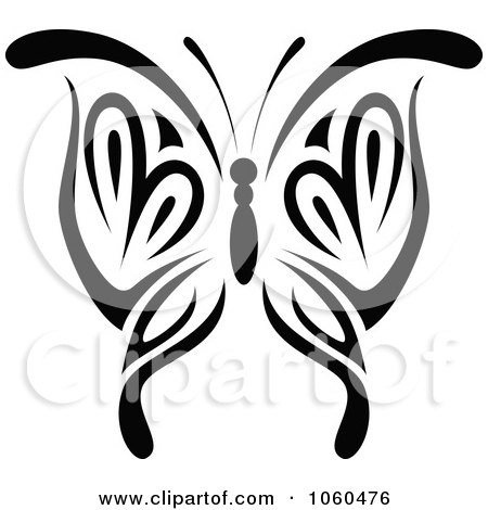 Royalty-Free Vector Clip Art Illustration of a Black And White Butterfly Logo - 4 by Vector Tradition SM