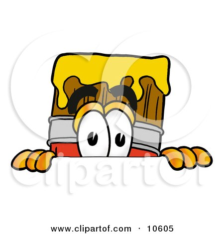 Clipart Picture of a Paint Brush Mascot Cartoon Character Peeking Over a Surface by Toons4Biz