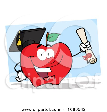 Royalty-Free Vector Clip Art Illustration of a Student Apple Holding A Diploma - 2 by Hit Toon