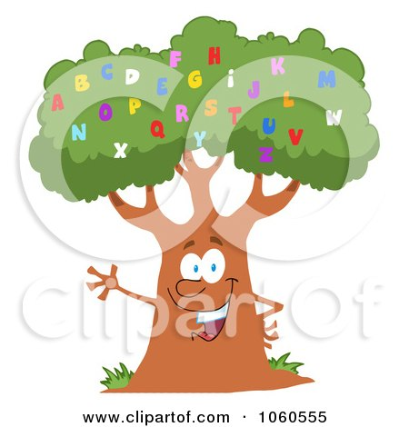 Royalty-Free Vector Clip Art Illustration of a Friendly Alphabet Tree Waving by Hit Toon