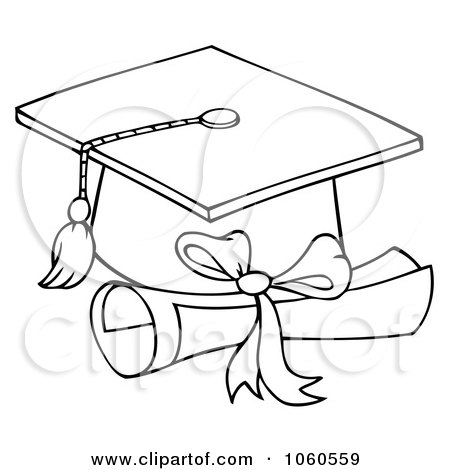 Printable Coloring on Royalty Free Vector Clip Art Illustration Of An Outlined Graduation