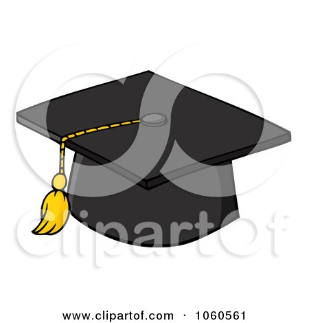 Royalty-Free Vector Clip Art Illustration of a Black Graduation Cap And Tassel by Hit Toon