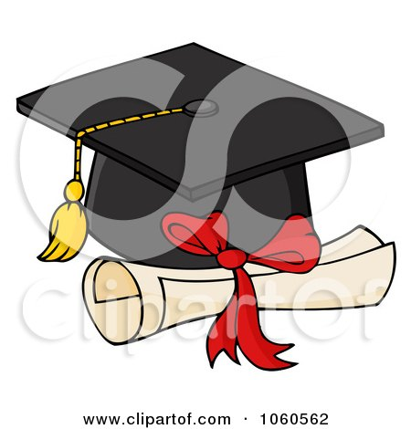 Royalty-Free Vector Clip Art Illustration of a Black Graduation Cap And Diploma by Hit Toon
