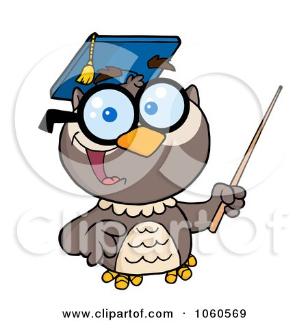 Royalty-Free Vector Clip Art Illustration of a Professor Owl Holding A Pointer Stick - 1 by Hit Toon