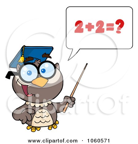Royalty-Free Vector Clip Art Illustration of a Professor Owl Holding A Pointer Stick And Teaching Addition - 1 by Hit Toon