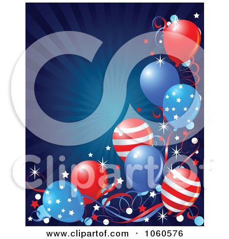 Royalty-Free Vector Clip Art Illustration of a Blue Burst Background With American Balloons by Pushkin