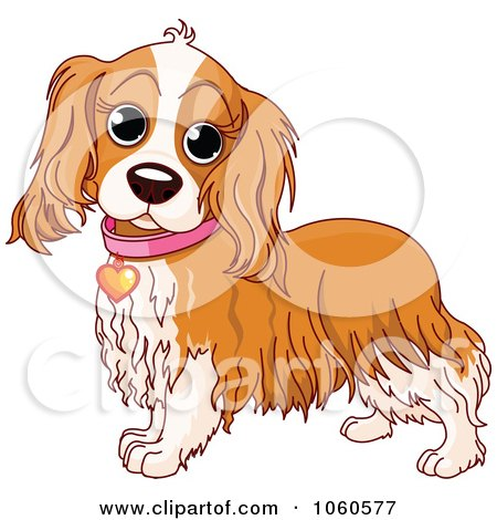 Royalty-Free Vector Clip Art Illustration of a Cocker Spaniel With A Pink Collar And Heart Tag by Pushkin