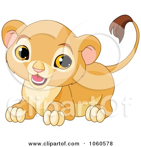 Royalty-Free Vector Clip Art Illustration of a Cute Lion Cub Crouching by Pushkin