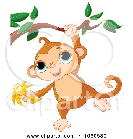 Royalty-Free Vector Clip Art Illustration of a Cute Monkey Hanging From A Branch With A Banana In Hand by Pushkin