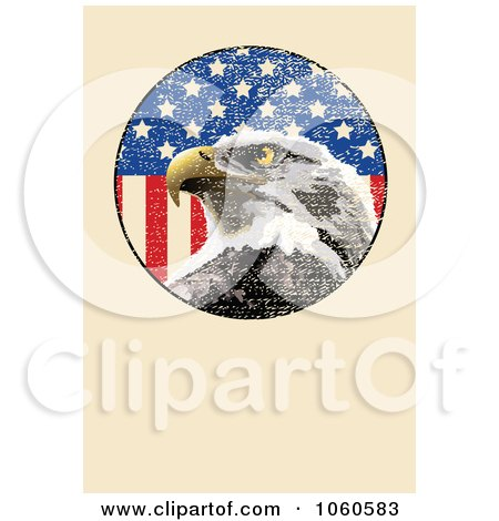 Royalty-Free Vector Clip Art Illustration of a Beige Page With An American Eagle And Flag by Pushkin