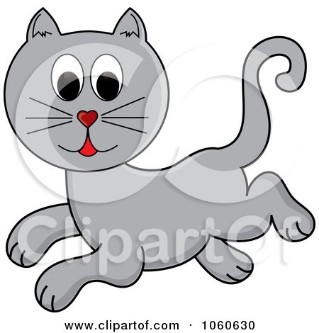 Royalty-Free Vector Clip Art Illustration of a Leaping Gray Cat by Pams Clipart