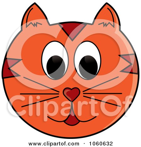 Royalty-Free Vector Clip Art Illustration of an Orange Cat Face by Pams Clipart