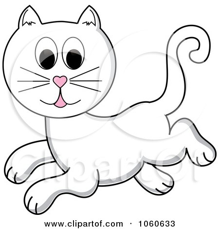 Royalty-Free Vector Clip Art Illustration of a Leaping White Cat by Pams Clipart