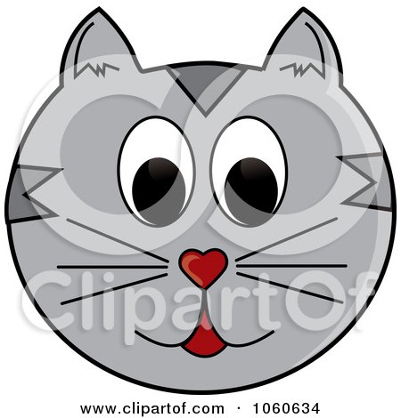 Royalty-Free Vector Clip Art Illustration of a Gray Cat Face by Pams Clipart