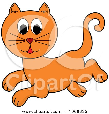 Royalty-Free Vector Clip Art Illustration of a Leaping Orange Cat by Pams Clipart