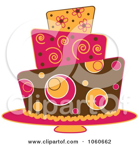 Royalty-Free Vector Clip Art Illustration of a Funky Three Tiered Cake - 3 by Pams Clipart