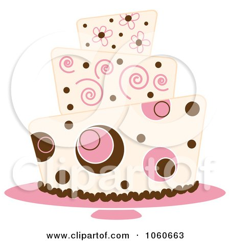 Royalty-Free Vector Clip Art Illustration of a Funky Three Tiered Cake - 4 by Pams Clipart