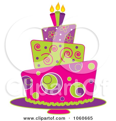 Royalty-Free Vector Clip Art Illustration of a Funky Three Tiered Cake - 1 by Pams Clipart