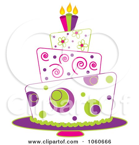 Royalty-Free Vector Clip Art Illustration of a Funky Three Tiered Cake - 2 by Pams Clipart