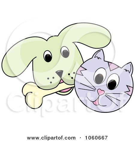 Royalty-Free Vector Clip Art Illustration of a Cat And A Dog With A Bone - 2 by Pams Clipart