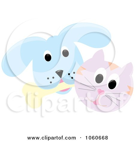 Royalty-Free Vector Clip Art Illustration of a Cat And A Dog With A Bone - 3 by Pams Clipart