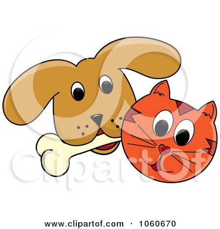 Royalty-Free Vector Clip Art Illustration of a Cat And A Dog With A Bone - 1 by Pams Clipart