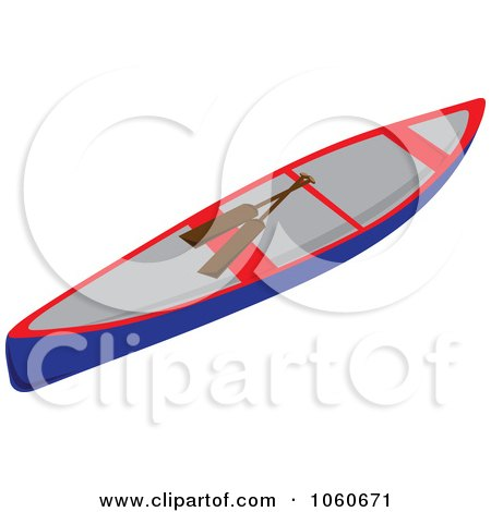 Royalty-Free Vector Clip Art Illustration of a Canoe And Paddles by Pams Clipart
