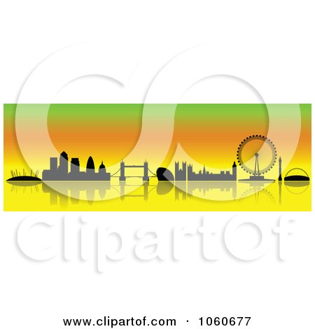 Royalty-Free Vector Clip Art Illustration of a London Skyline Banner - 2 by cidepix