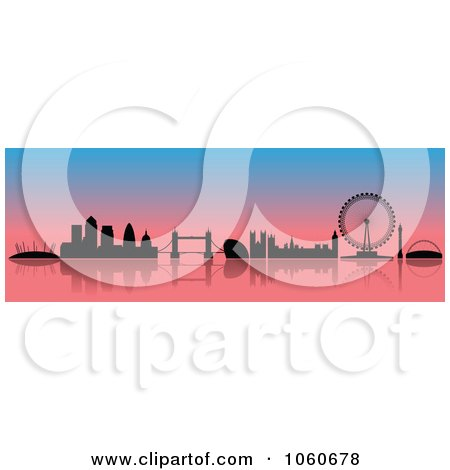 Royalty-Free Vector Clip Art Illustration of a London Skyline Banner - 3 by cidepix