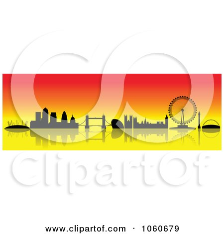 Royalty-Free Vector Clip Art Illustration of a London Skyline Banner - 4 by cidepix