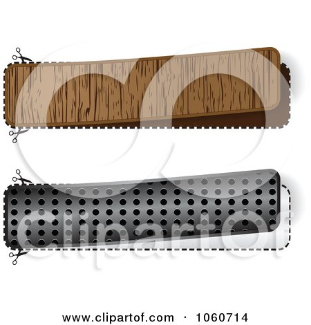 Digital Collage Of Wooden And Silver Banners With Cut Lines Posters, Art Prints