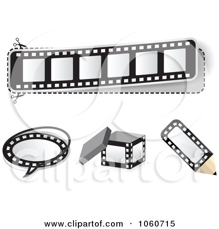 Royalty-Free Vector Clip Art Illustration of a Digital Collage Of Film Strip Design Elements by Andrei Marincas