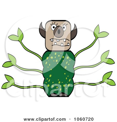 Royalty-Free Vector Clip Art Illustration of a Leafy Monster by Andrei Marincas