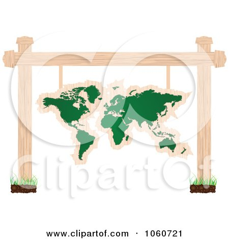 Royalty-Free Vector Clip Art Illustration of a World Atlas Chalkboard Sign Suspended From Posts by Andrei Marincas