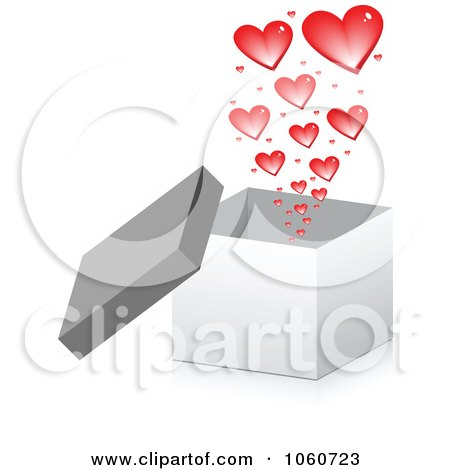 Royalty-Free Vector Clip Art Illustration of a 3d Box With Hearts by Andrei Marincas