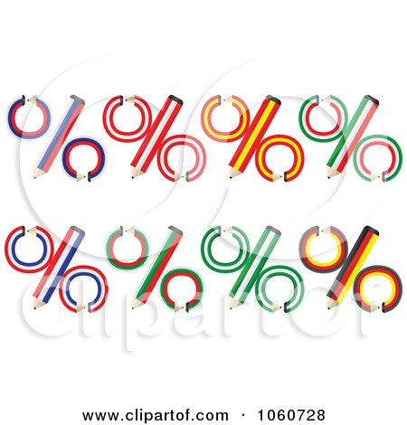 Royalty-Free Vector Clip Art Illustration of a Digital Collage Of National Flag Inspired Percent Pencils by Andrei Marincas