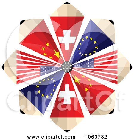 Royalty-Free Vector Clip Art Illustration of a Burst Of Swiss, European, American, And Chinese Flag Pencils by Andrei Marincas