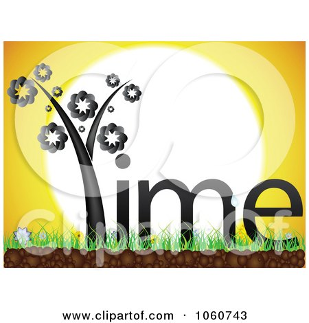 Royalty-Free Vector Clip Art Illustration of a Time Plant On Grass Against A Sunset by Andrei Marincas