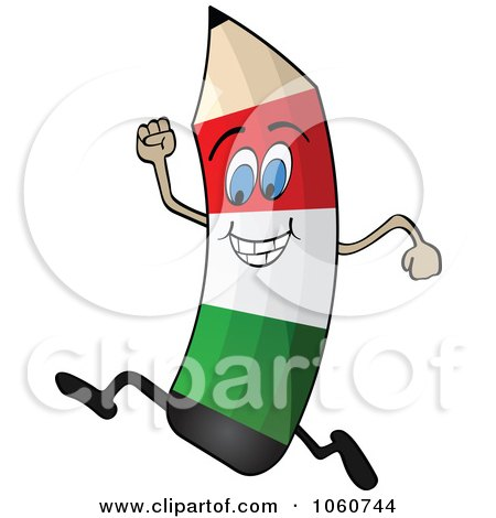 Royalty-Free Vector Clip Art Illustration of a Running Italian Flag Pencil Character by Andrei Marincas