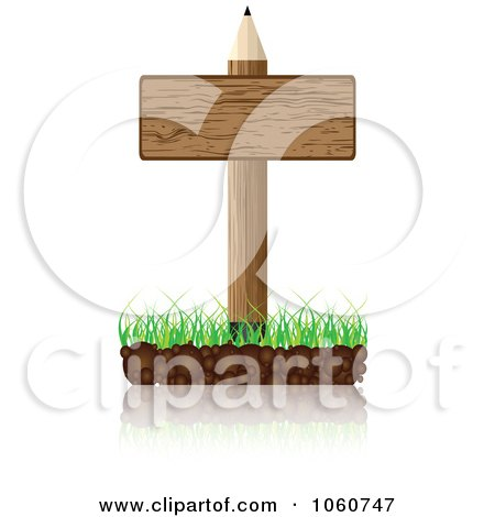 Royalty-Free Vector Clip Art Illustration of a Wooden Pencil And Sign With A Reflection by Andrei Marincas