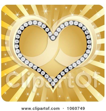 Royalty-Free Vector Clip Art Illustration of a Golden Diamond Heart Over Rays by Andrei Marincas