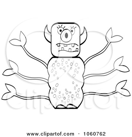 Royalty-Free Vector Clip Art Illustration of an Outlined Leafy Monster by Andrei Marincas