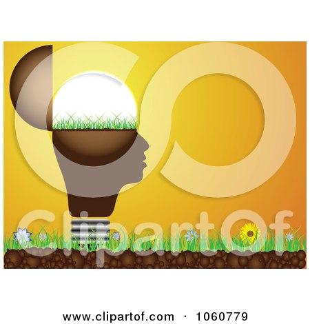Royalty-Free Vector Clip Art Illustration of a Light Bulb Head On Grass Against An Orange Sunset by Andrei Marincas