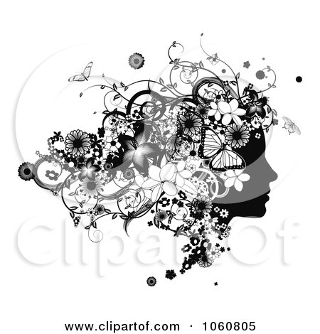 Royalty-Free Vector Clip Art Illustration of a Black And White Woman's Face In Profile, With Flowers And Butterflies by AtStockIllustration