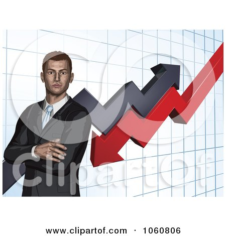 Royalty-Free Vector Clip Art Illustration of a Business Man With Folded Arms, Against A Graph by AtStockIllustration