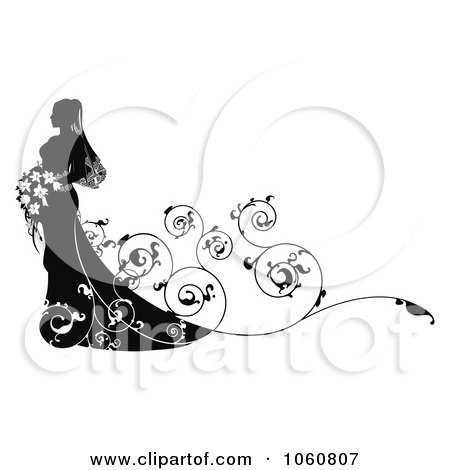 Royalty-Free Vector Clip Art Illustration of a Silhouetted Bride With Swirly Vines And Copyspace by AtStockIllustration