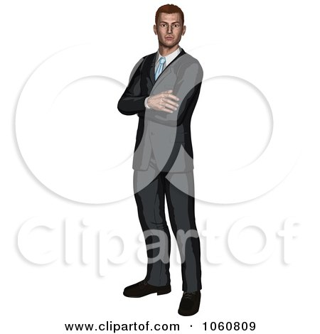 Royalty-Free Vector Clip Art Illustration of a Businessman Standing With Folded Arms by AtStockIllustration